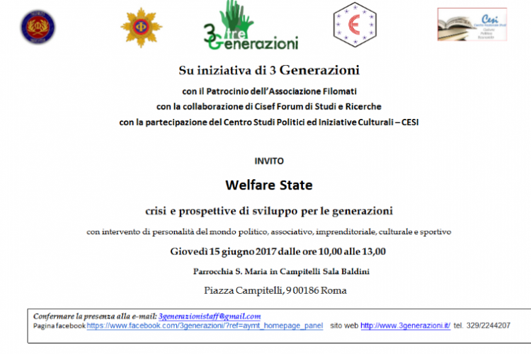 Convegno: Welfare State: crisi e prospettive di sviluppo per le generazioni.